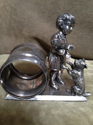 Victorian Figural Napkin Ring Little Boy with Dog