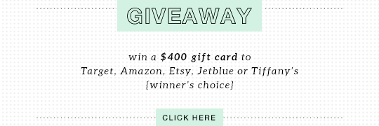 Giveaway: win a $400 gift card to Target, Amazon, Etsy, Jetblue or Tiffany's