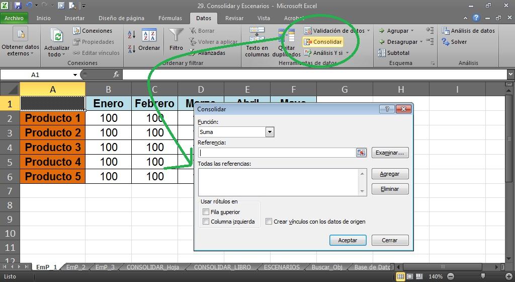 Ayuda y videotutoriales sobre excel 2010 nota la consolidacin se debe hacer en una hoja en blanco y no en una hoja con datos a ser consolidados urtaz Gallery