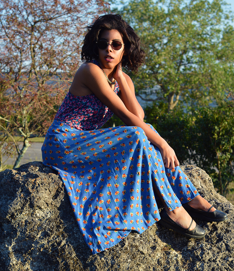Fashion and Indie Culture Blogger Anais Alexandre of Down to Stars in a Forever 21 floral top with vintage flower button down skirt and Deena and Ozzy maryjanes