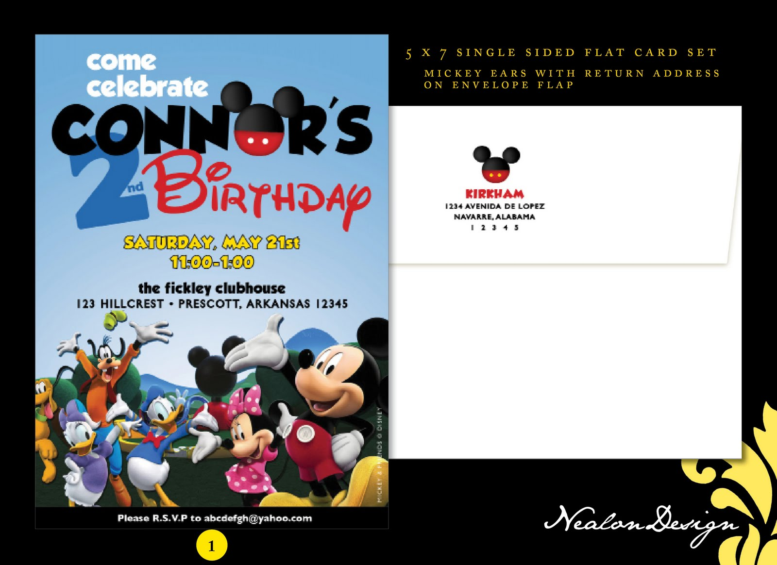 Nealon Design Mickey Mouse Clubhouse BIRTHDAY Invitations – Mickey Mouse Clubhouse Birthday Invites
