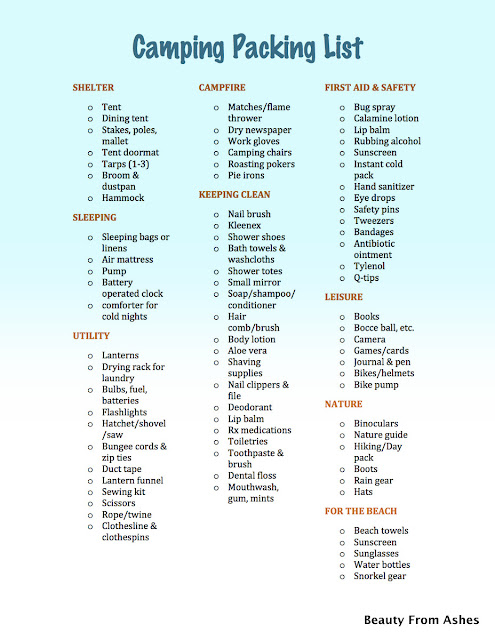 camping  camping packing list