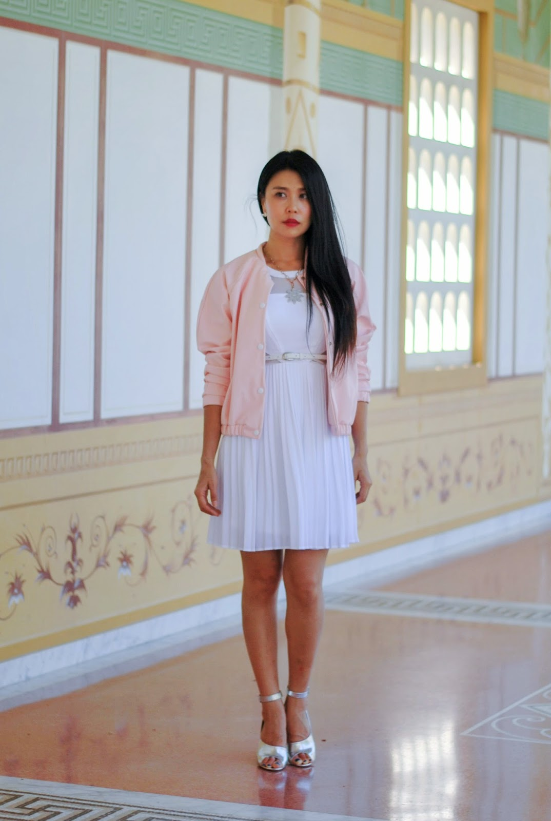 jenny wu of goodbadandfab.com is wearing xoxo white dress boohoo pink bomber jacket 3.1 phillip lim cody silver heels