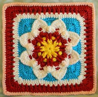 "Free Granny Square Crochet Pattern - Universal Star Flower 12"""