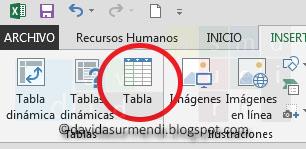 Botón para crear Tablas en Excel.