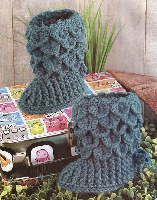 Boticas en punto de cocodrilo a Crochet