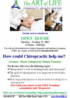 How Could Chiropractic Help - Open House Art of Life Community Centre, poster