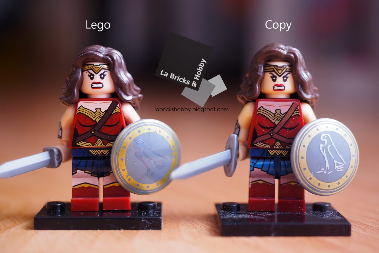 its another comparison of lego minifigure with chinese copy first of all look at the shield it proved that chinese copy printings were re drawn by the - Lego Wonder Woman