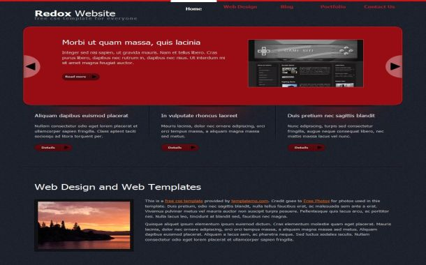 Patterns Black Red Jquery Free CSS Website Template