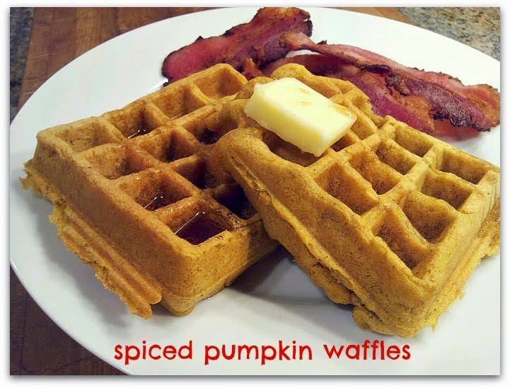red or green?: Spiced Pumpkin Waffles with Maple Syrup Glazed Bacon