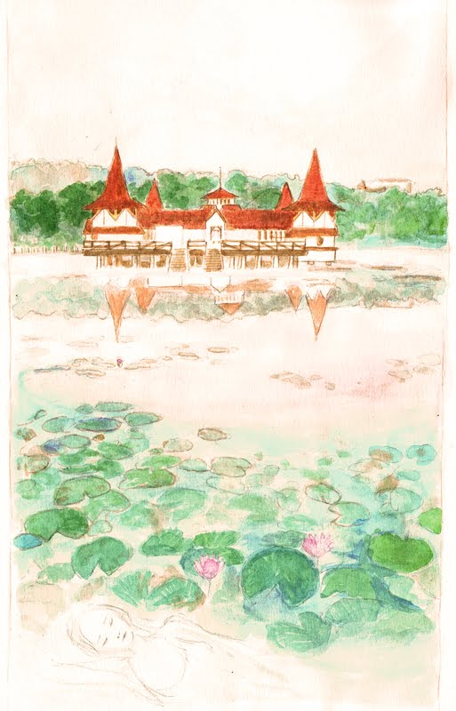 watercolor of Lake Hévíz, thermal lake and spa in Hungary near Lake Balaton