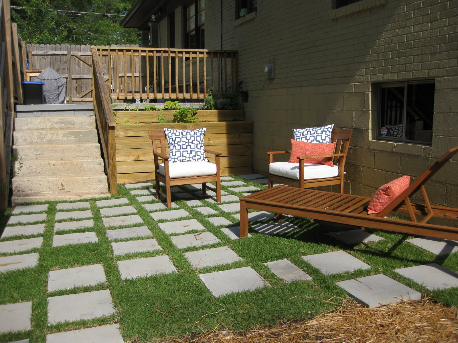 patio pavers with grass in between. [ta-da! The New Patio] Patio Pavers With Grass In Between