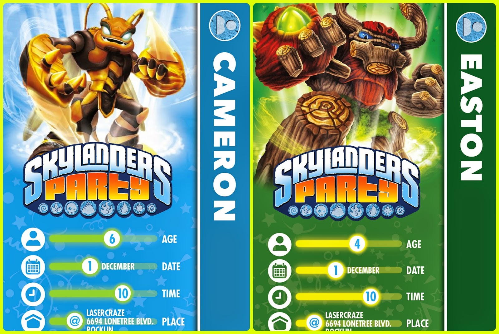 The crazy chaotic house boys skylander birthday party i saw these invitations on pinterest and had to have them for the boys so when you buy a skylander it comes with a trading card and they look exactly like bookmarktalkfo Choice Image