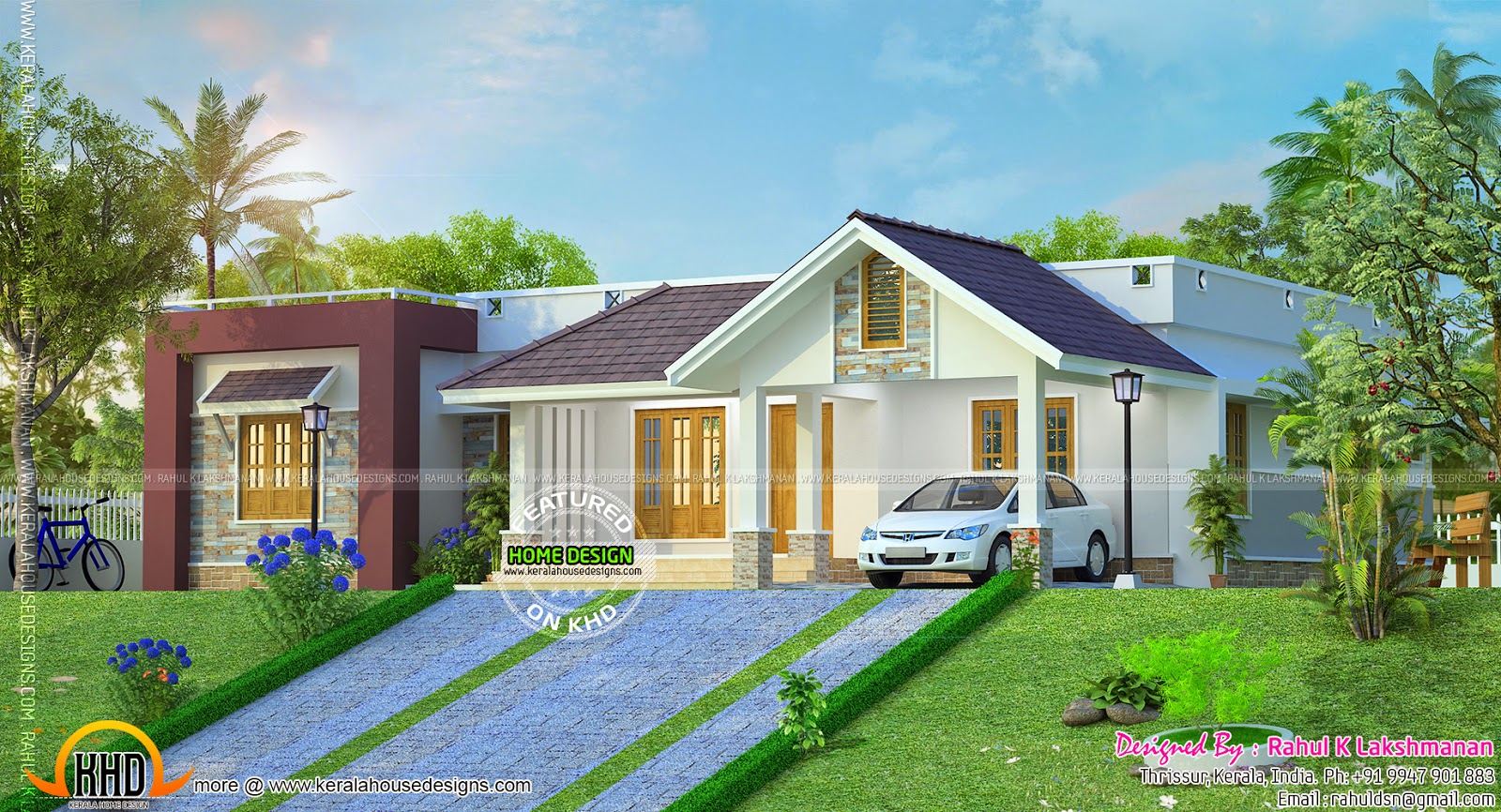Hillside home plan kerala home design and floor plans for Slope home design