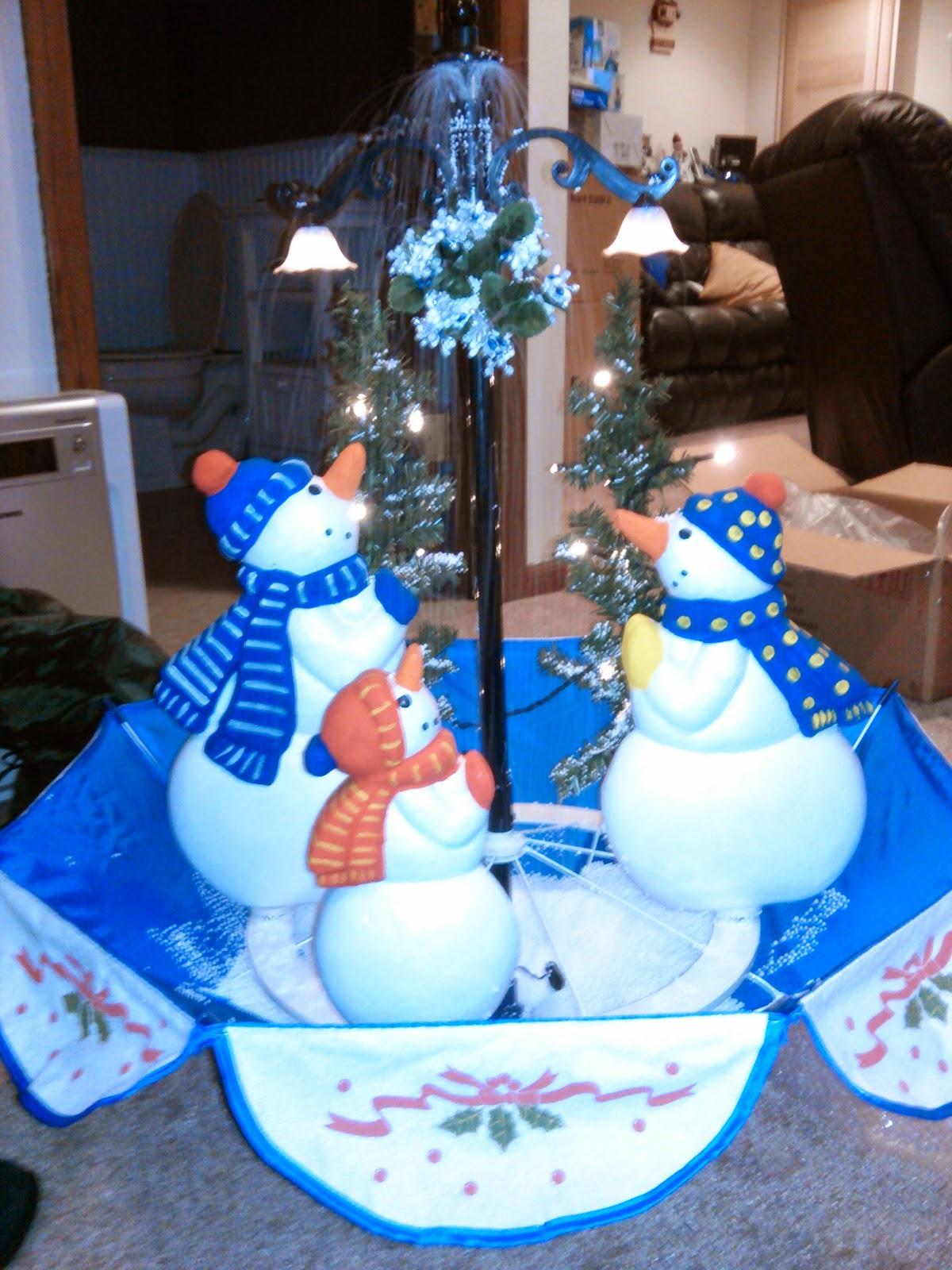 Singing Snowman Snowing Christmas Tree Decoration W Led
