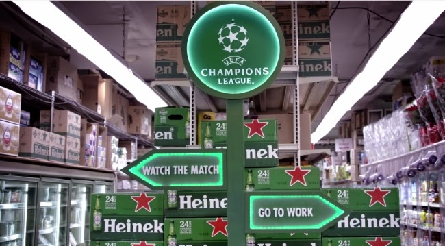 Heineken, trabajo vs. fútbol, work vs. soccer, UEFA Champions League