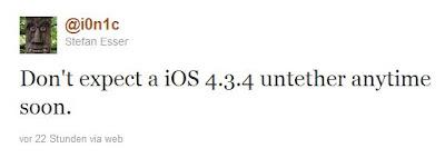 Kein untethered Jailbreak für iOS 4.3.4 in Sicht