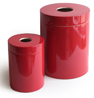 trash bins, two sizes, red, made from bamboo