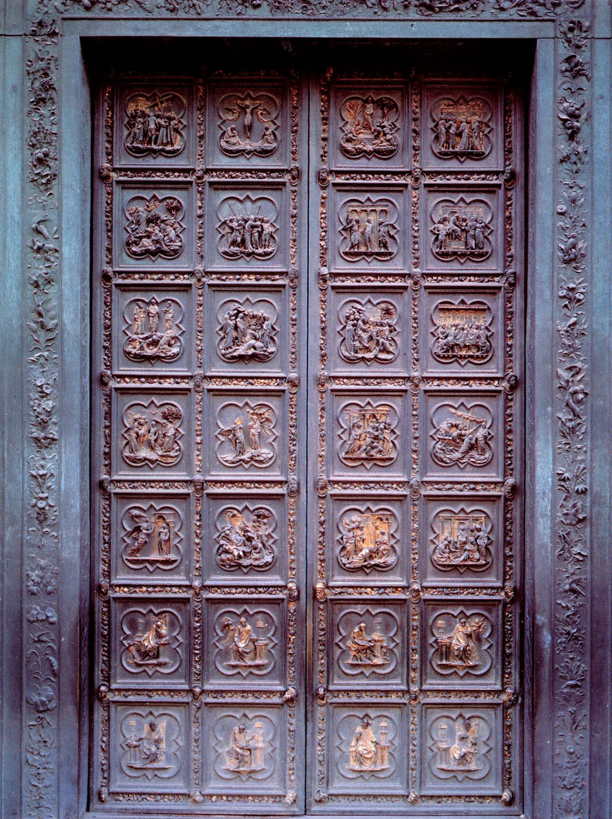 Ghiberti finally finished these doors after 21 years of work. These gilded bronze doors consist of twenty-eight panels with twenty panels depicting the ... & Life is a Great Big Canvas: Biography: Lorenzo Ghiberti