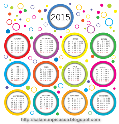 Color Bubble Calendar 2015 Vector