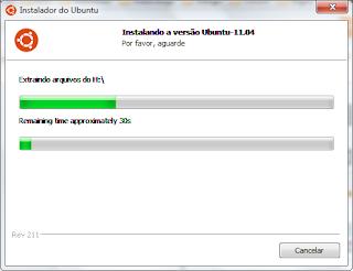Progresso da instalação do Ubuntu