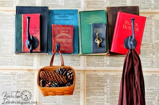 Repurposed Books Coat Rack via Knick of Time
