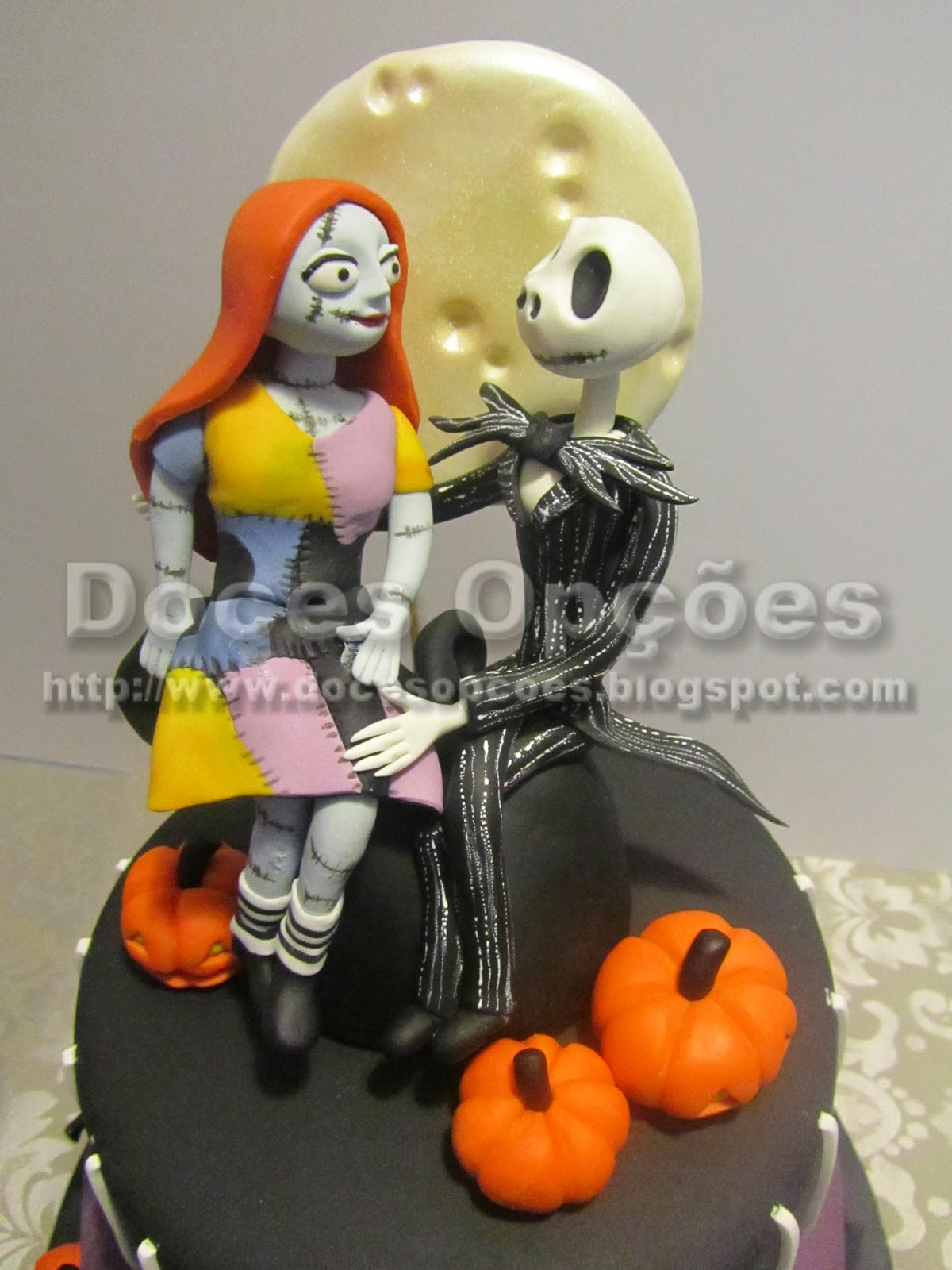 Jack Skellington and Sally aniversary cake