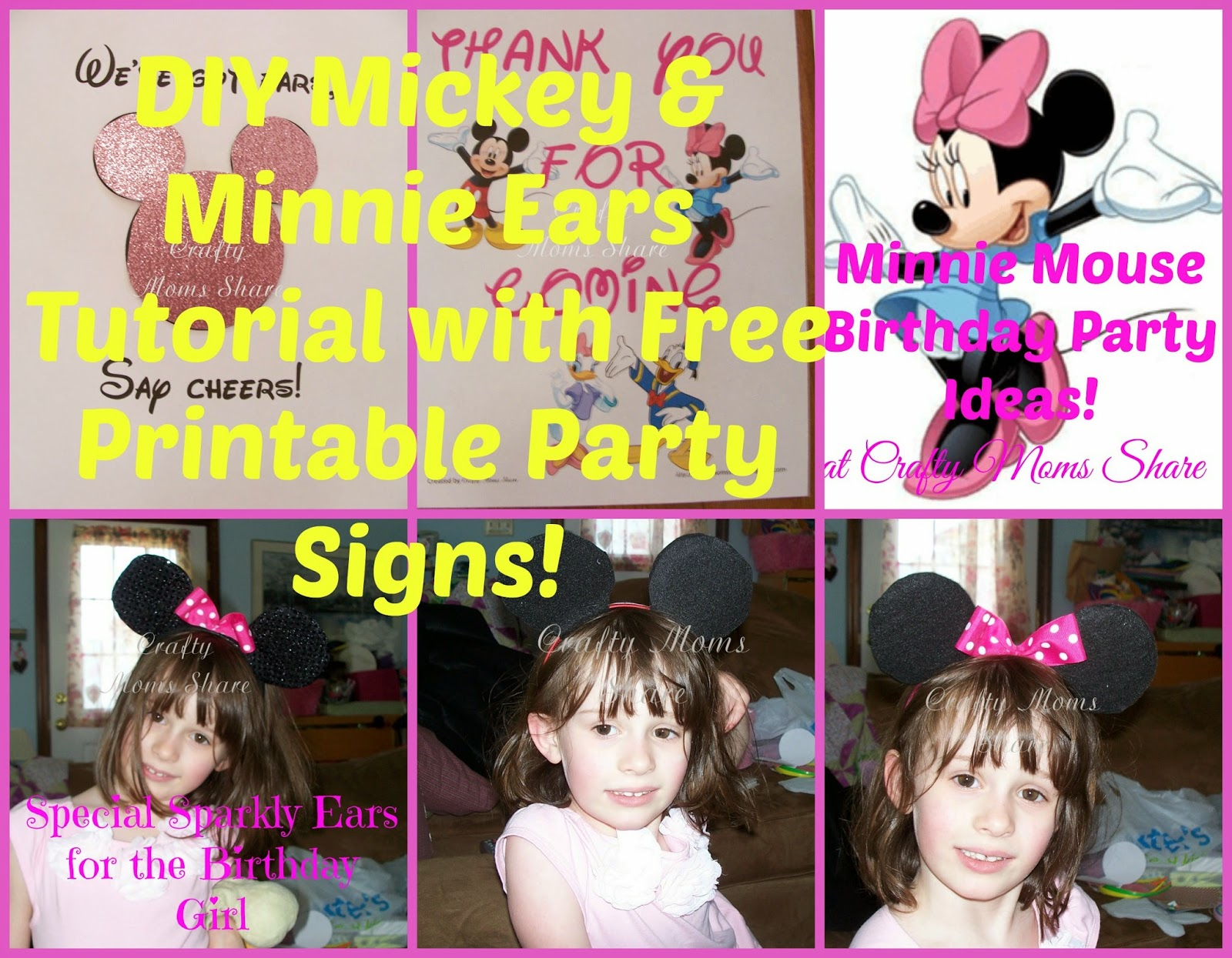 image relating to Free Printable Mickey Mouse Signs titled Cunning Mothers Percentage: Do it yourself Mickey and Minnie Mouse Ears and Cost-free