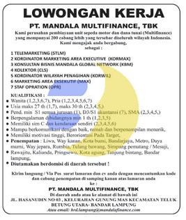 Bursa Kerja di PT. Mandala Multifinance, Tbk