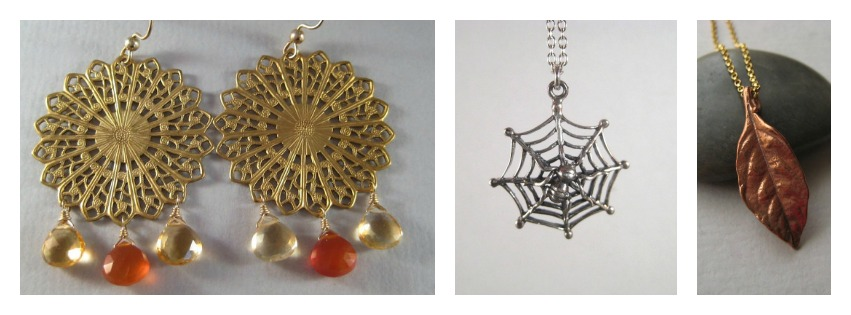 Brass Filigree Earrings *Spider Chain Necklace *Bronze Leaf Necklace