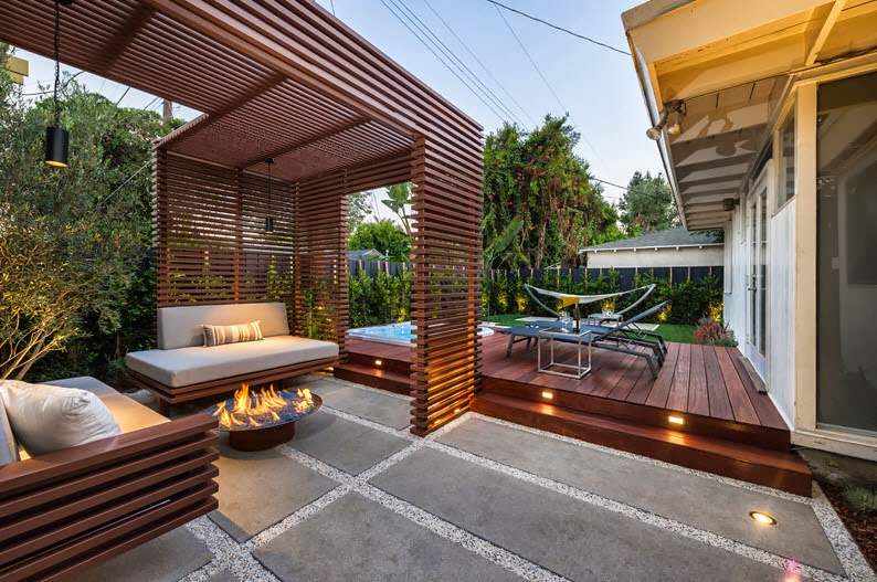 dise o de una moderna terraza de madera de una casa en la