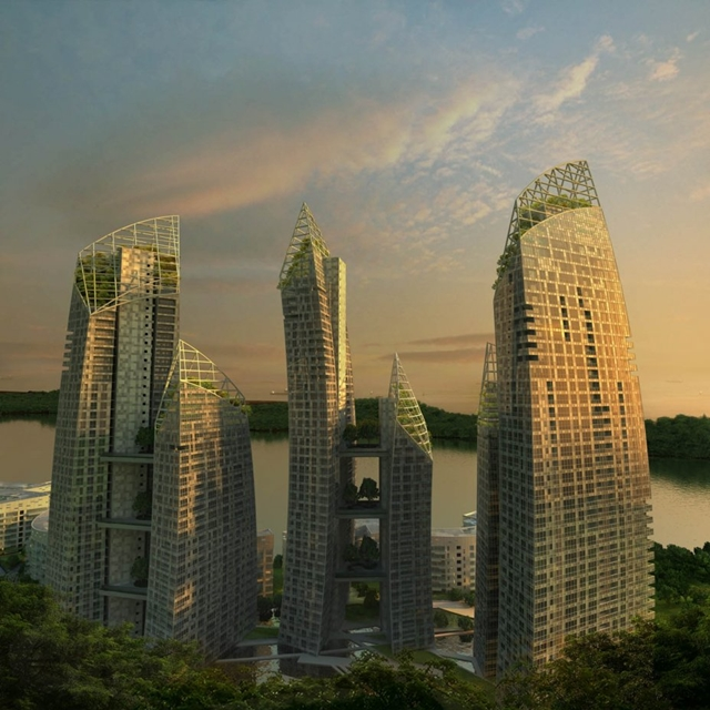 Rendering of Reflections at Keppel Bay by Studio Daniel Libeskind at night