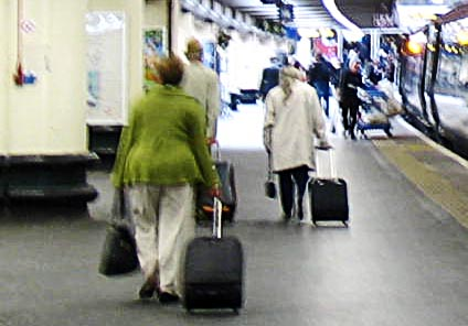 overweight woman on platform