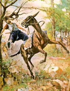 YAHWE menolong Daud, Absalom Tersangkut di dahan