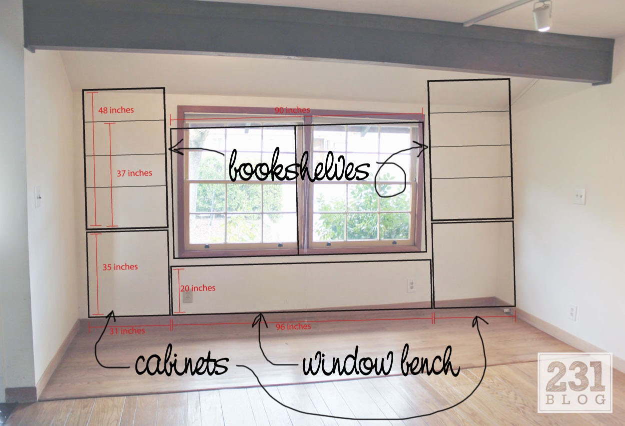 built in window seat with bookshelves plans and measurements