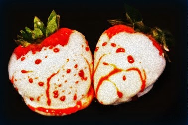 BLOOD SPLATTERED CHOCOLATE COVERED STRAWBERRIES @northmanspartyvamps.com