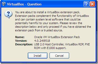 oracle vm virtualbox extension pack