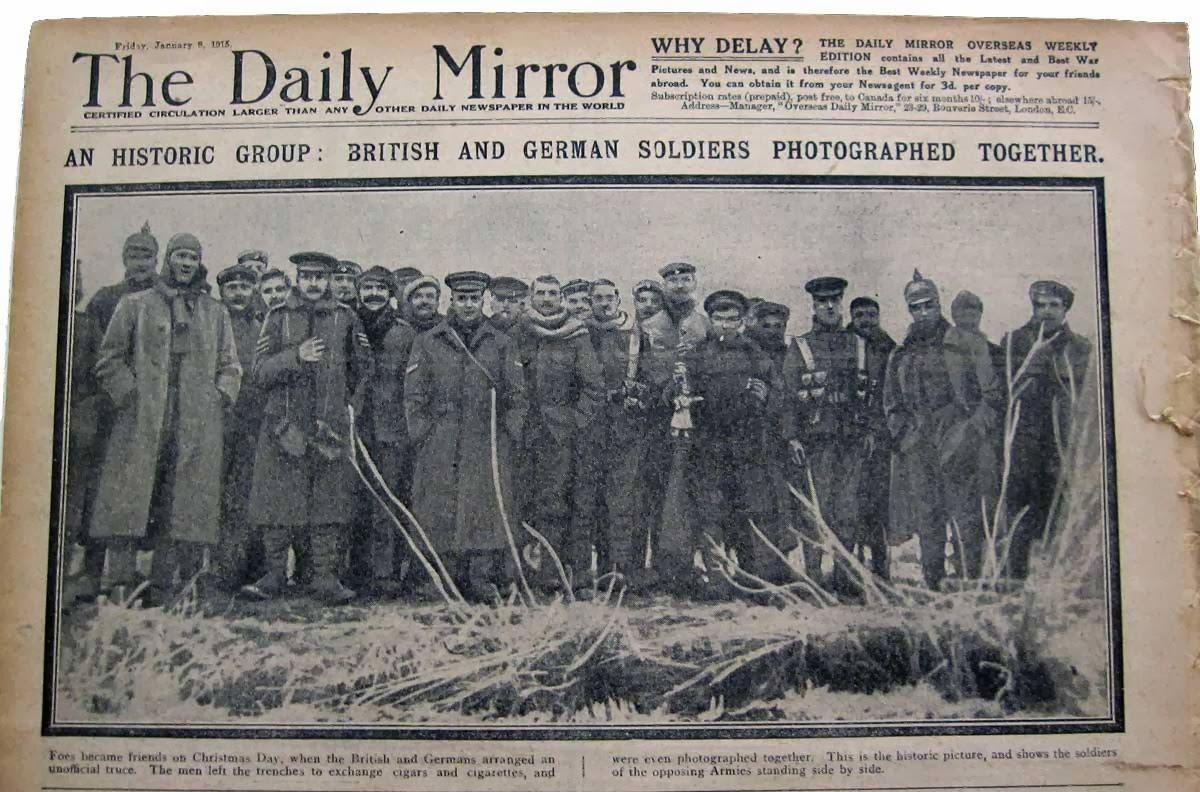 Fraternisations en décembre 1914 :