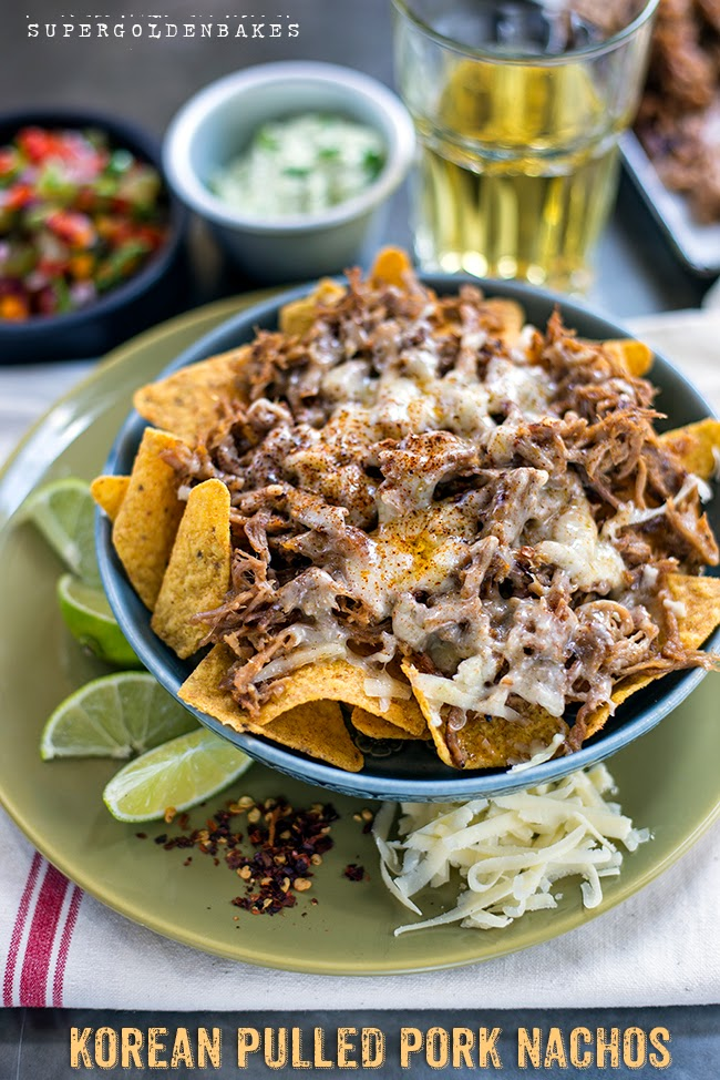 Spicy Korean pulled pork nachos