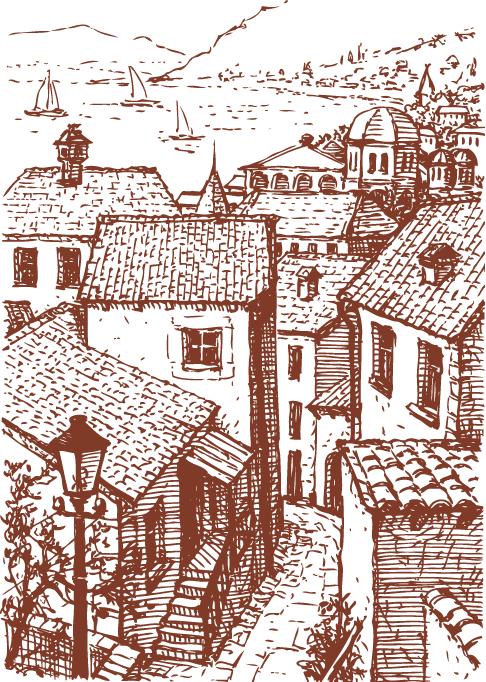 casas de pueblo pintorescas - vector