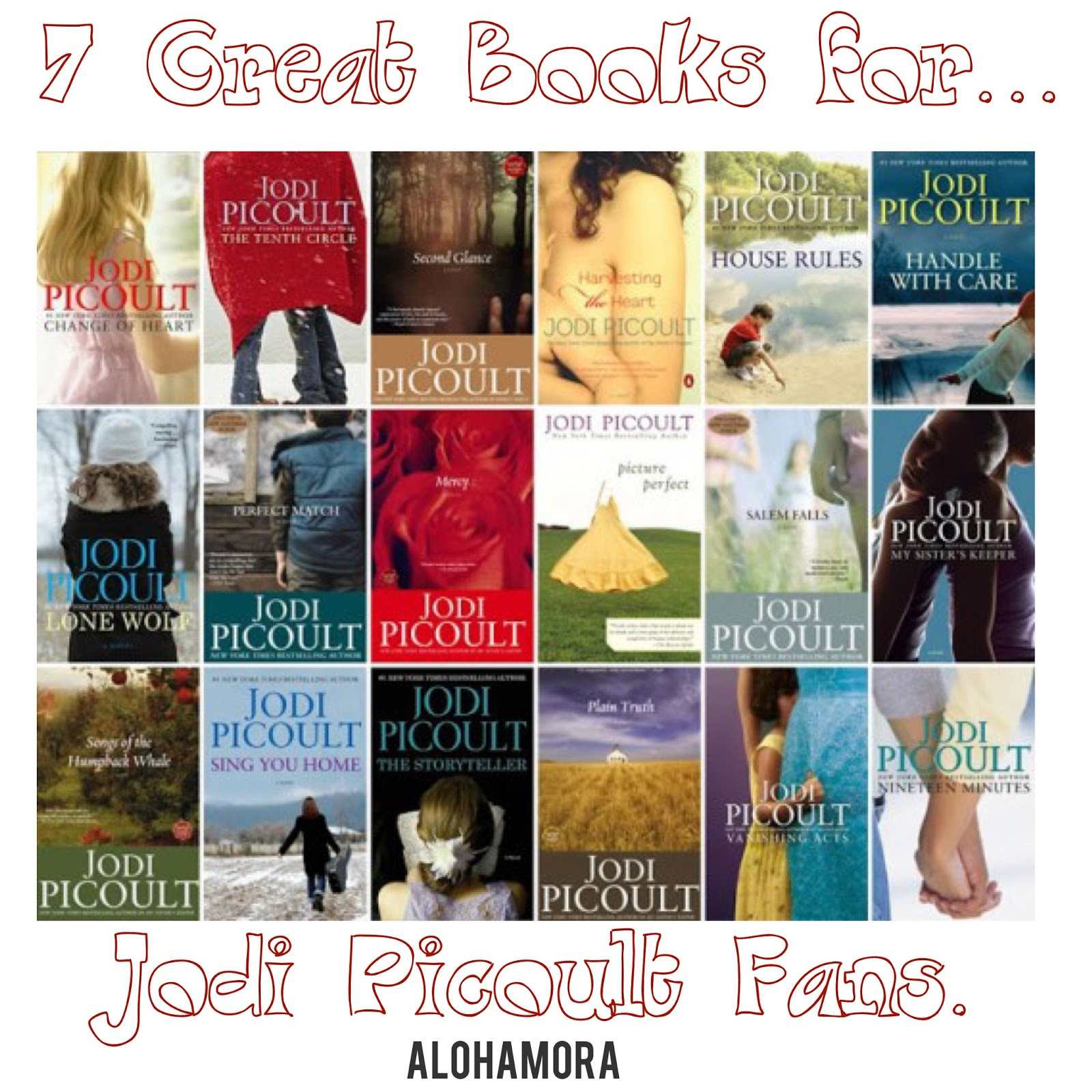 7 Great Books to read if you like Jodi Picoult books.  Emotional, complex, all about perspective, morally tough, family, and so much more. Great and fabulous books that will have you hanging on every word and reading until the wee hours. Alohamora Open a Book http://alohamoraopenabook.blogspot.com/