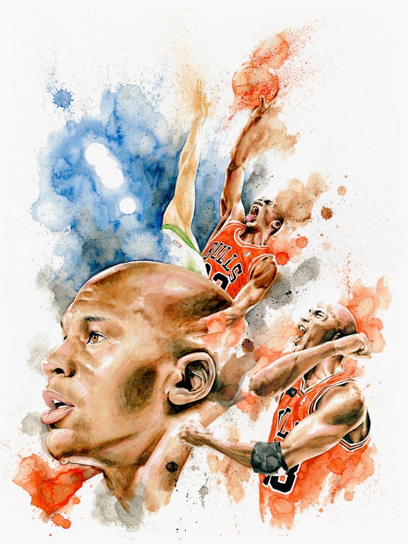 Ilustração Aquarela de Michael Jordan por Drumond