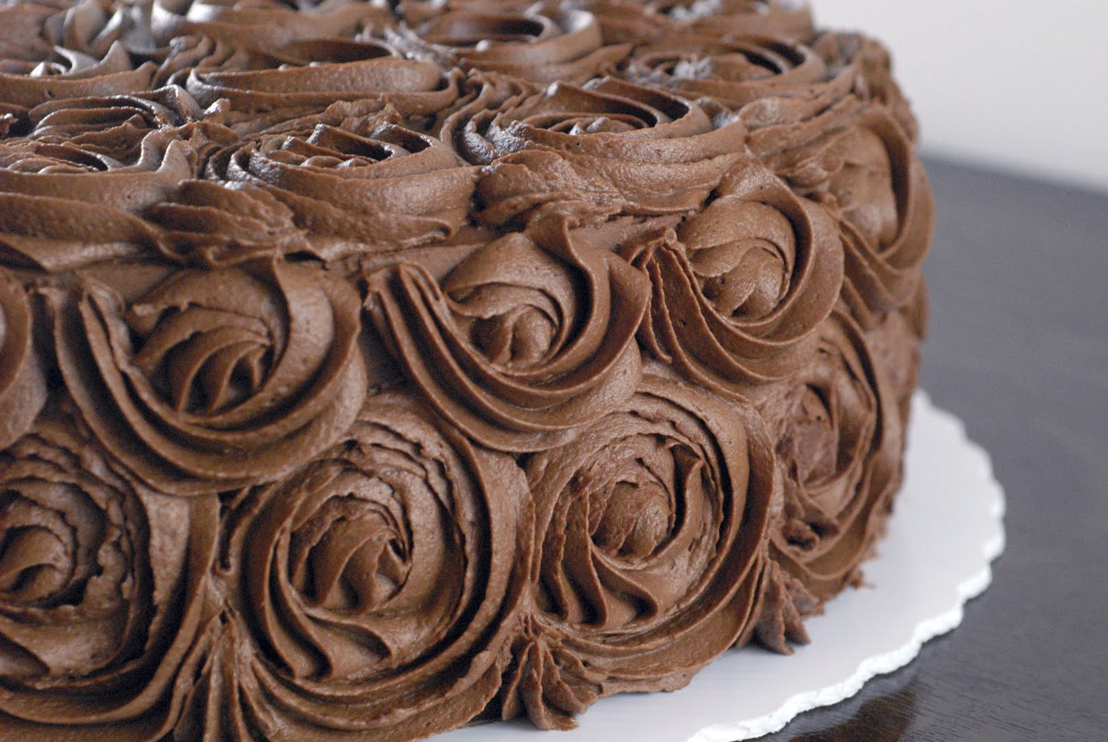 Night Baking Chocolate Rose Wedding Shower Cake With Pastry Cream