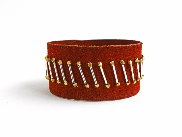 Erin siegel jewelry his and her embroidered leather cuff