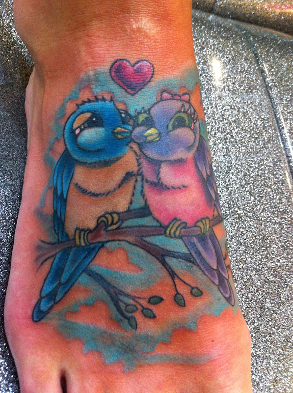 Jamie's tattoo on her foot. title=