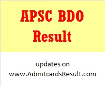 APSC Result for Block Development officer exam
