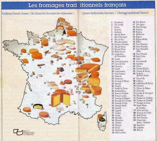 mapa de la france des fromages