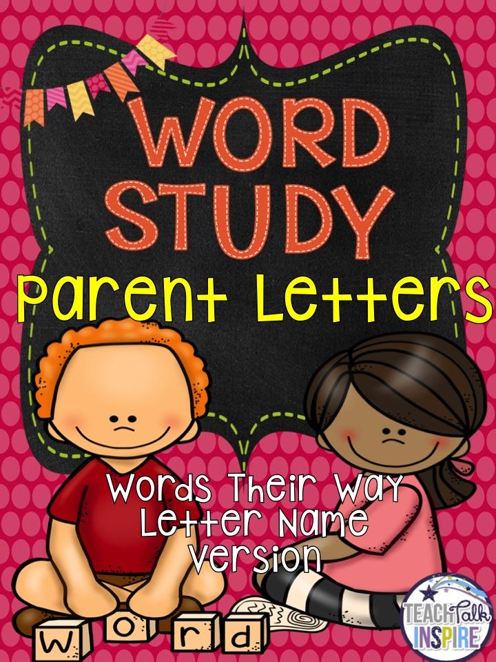 Word Study Parent Letters Teachtalkspire