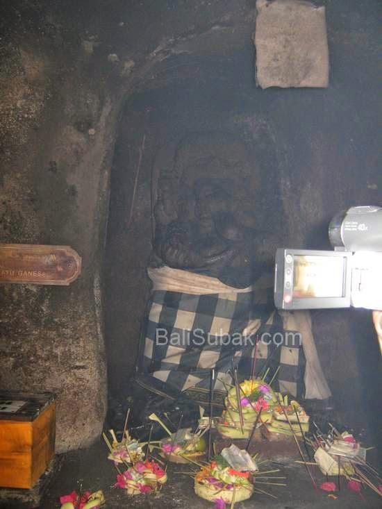 Ganesha statue in Lingga in Goa Gajah (Elephant Cave) in Gianyar