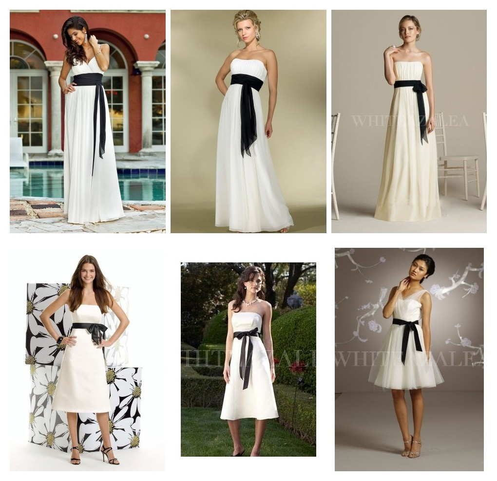 white bridesmaid dresses with black sashes